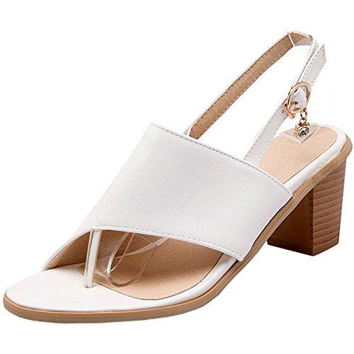 Sandals Block Open Back TAOFFEN Fashion Mid Thongs Heel Women Flops Flip Buckle White qZPwx