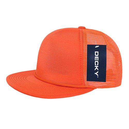 DECKY 223-ORN Solid Color Flat Bill Foam Trucker, Orang, Orange
