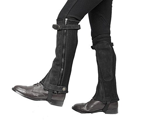 (Derby Origjnals Adult & Kids Suede Leather Half Chaps Zipper & Elastic for Horse Riding or Motorcycle Use (Black, Medium))