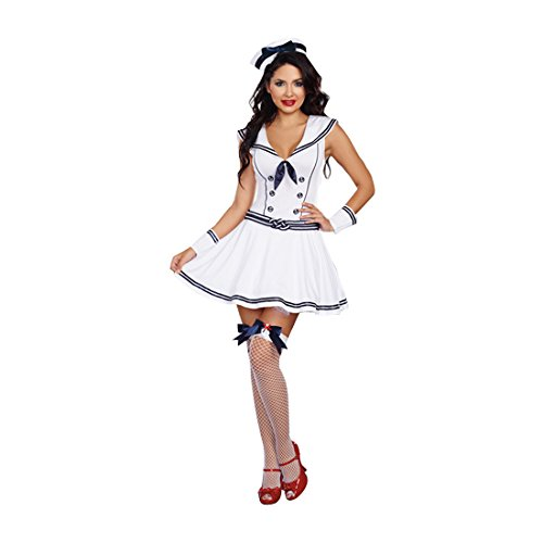 [Dreamgirl Women's Boat Rockin' Babe Costume, Blue/White, Small] (Rockin The Boat Costumes)