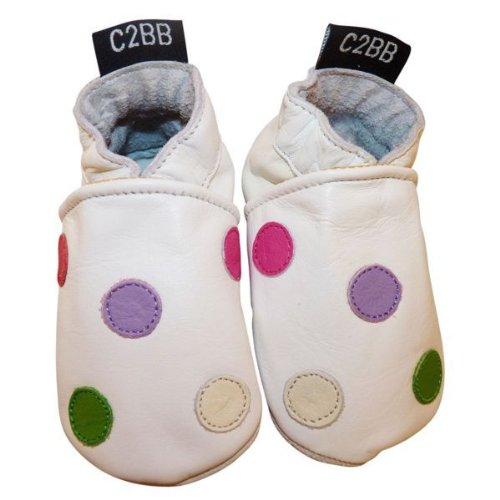 C2BB - Krabbelschuhe Babyschuhe geschmeidiges Leder - Mädchen   Weißes in Erbse