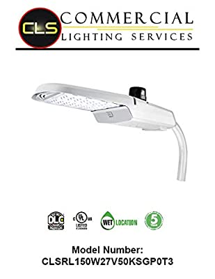 LED Area Roadway Parking Lot Light Silver Grey 150W 5000K 20000LM Commercial Lighting Photocell and Surge Protector