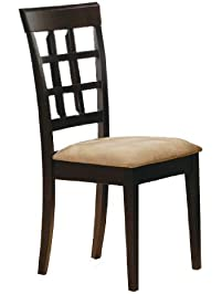 coaster style dining chairs cappuccino wood finish set of 2