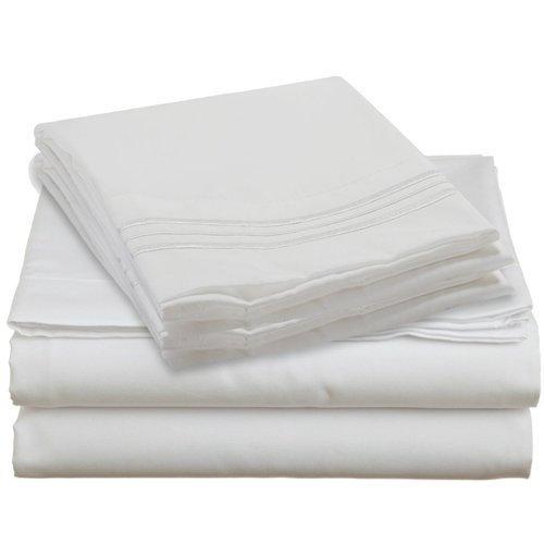 Royal Collection 1900 King Size Thread Count Bamboo Quality Bed Sheet Set Fitted, 1 King Flat and 2 King Pillow Case.Wrinkle Free Shrinkage Free Fabric, Deep Pockets (King Size, White)