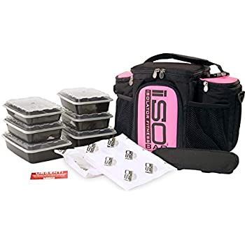 Isolator Fitness 3 Meal ISOBAG Meal Prep Management Insulated Lunch Bag Cooler with 6 Stackable Meal Prep Containers, 2 ISOBRICKS, and Shoulder Strap - MADE IN USA (Black/Pink Accent)