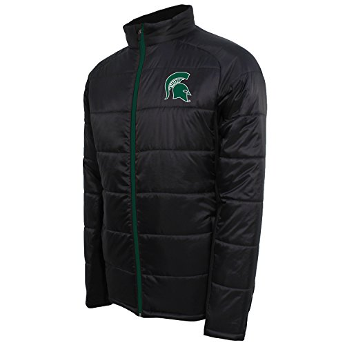 NCAA Michigan State Spartans Men's Campus Specialties Full Zip Quilted Puffer Jacket, Carbon/Dark Green, Medium