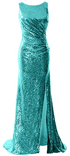 Cowl Sequin Back Prom Turquoise Slit Dress Long Macloth Women Gown Bridesmaid With Formal BxgA5wTq