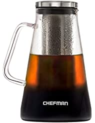 Chefman Cold Brew Coffee Maker, Brews Best Hot or Iced Coffee & Tea with Laser Cut Filter/Tea Infuser, Airtight Dishwasher Safe Borosilicate Glass Carafe with Stainless Steel Lid, 1L/34oz
