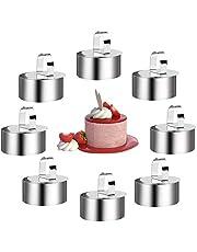 8 st matlagningsring set akort rostfritt stål tårtringar tårta cirkel form mousse ringar kit non-stick rund mat bakning ring form med tryckare för matlagning smulor Ägg bakverk desserter 8 cm diameter