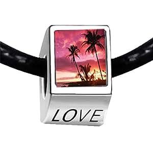 Chicforest Silver Plated Landmark Hawai Photo LOVE Charm Beads Bracelets Fits Pandora Bracelet
