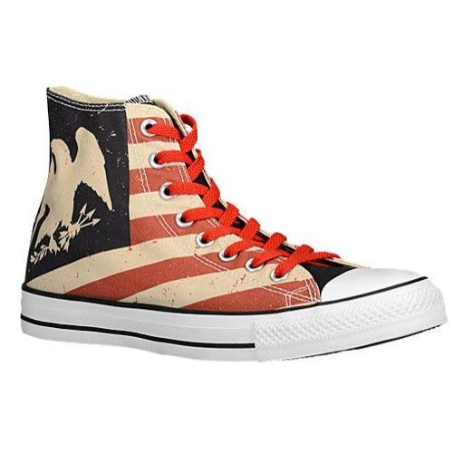 Converse Chuck Taylor All Star Americana Print Hi Shoes, Size: 4.5 D(M) US Mens / 6.5 B(M) US Womens, Color: Black/Fire ()