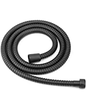 1.5m All Metal Shower Hose Matte Black High Pressure Stainless Steel Flexible Pipe Bathroom Accessory Chrome Extra Commercial Grade Stainless Steel for Hand Held