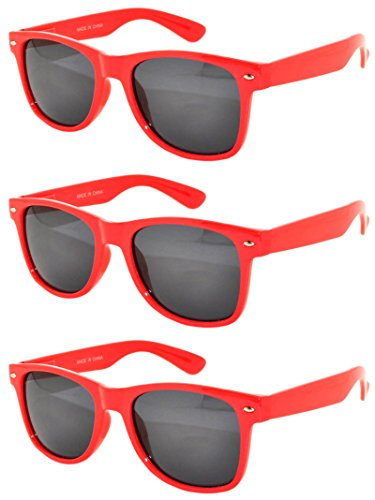 3 Pack New Retro Style Vintage Sunglasses Smoke Lens Red Color - Colorfull Sunglasses