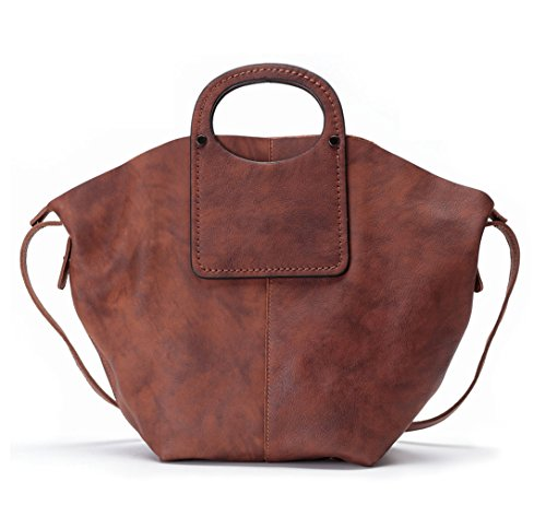Cross La Top Women's Leather Poet handle Satchel Genuine Brown body Bag wq7F60w