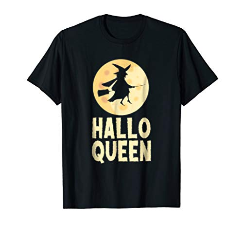 Hallo Queen - Funny Halloween Witch Shirt
