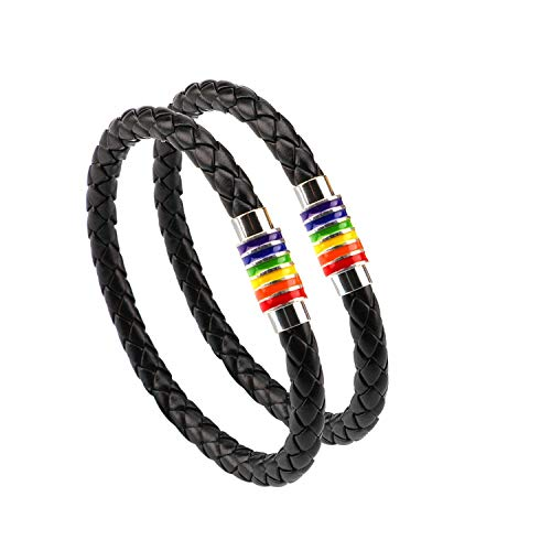 Phogary Gay Pride Bracelet LGBT Rainbow Bracelet (2 Packs), Couple Black Leather Bracelet Men's Women's Bangle with Rainbow Striped Stainless Steel Magnetic Clasp 22cm