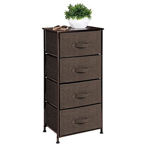 mDesign Vertical Dresser Storage Tower - Sturdy Steel Frame, Wood Top, Easy Pull Fabric Bins - Organizer Unit for Bedroom, Hallway, Entryway, Closets - Textured Print - 4 Drawers - Espresso Brown
