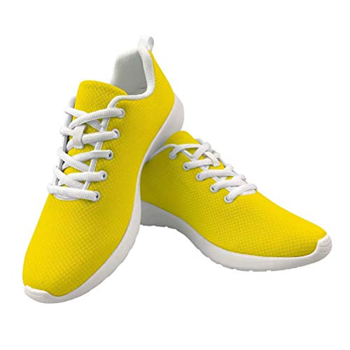 Dellukee Fashion Shoes for Women Men 2019 Black Yellow Casual Non Slip Wide Width Sneakers (Yellow Tennis Mens Shoes)