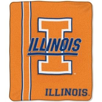 NCAA Illinois Fighting Illini 50-Inch-by-60-Inch Raschel Plush Throw