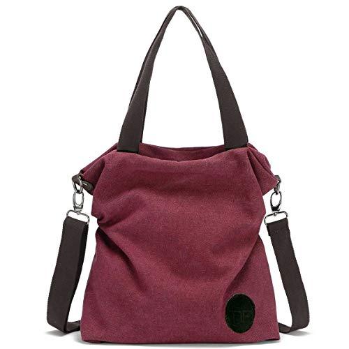 Mfeo Womens Casual Canvas Shoulder Bags Messenger Bags Crossbody Bag Tote Bags Handbag (7-Purplish Red)