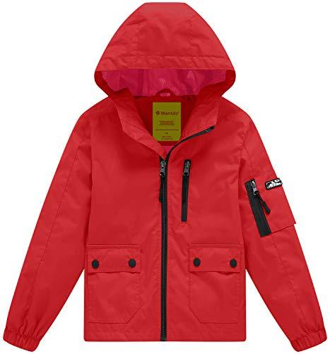 Wantdo Boy's Lightweight Hooded Rain Jacket Waterproof Outwear with Zipper Raincoat(Red, ()