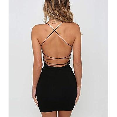 just quella Women Sexy Bodycon Party Dresses Backless Spaghetti Straps Clubwear Mini Dress: Clothing