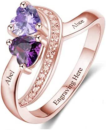 Brilliant sun Personalised Custom Name Silver Birthstone Promise Ring Names for Mother Women