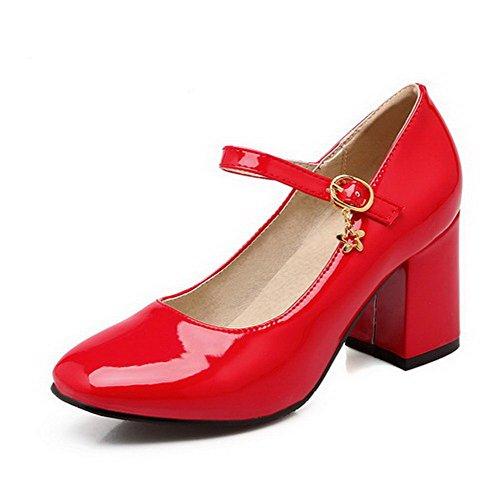 AllhqFashion Damen Hoher Absatz Rein Schnalle Lackleder Quadratisch Zehe  Pumps Schuhe Rot