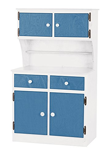 Children's Sink-Stove, Hutch, Fridge Combo -Two Tune Collection - White and Blue Color Amish Bedroom Hutch
