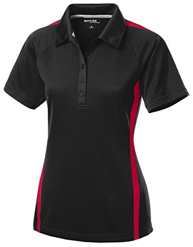 Sport-Tek Women's PosiCharge Micro Mesh Colorblock Polo - Black/Red LST685 L
