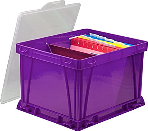 Storex Storage and Filing Cube, 17.25 x 14.25 x 10.5 Inches, School Purple/Clear, Case of 3 (62011U03C)