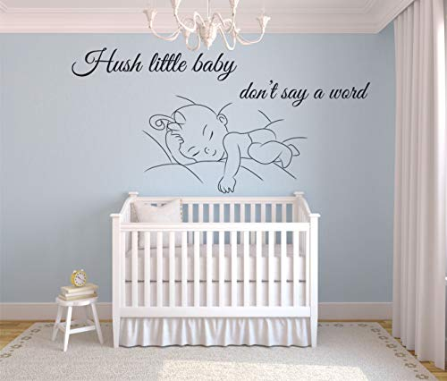 Hush Little Baby Dont Say a Word Kids Song Jingle Wall Sticker Vinyl Wall Art Decal for Girls Boys Baby Kids Bedroom Nursery Daycare Kindergarten Home Decor Wall Art Vinyl Decoration Size (20x40 inch)