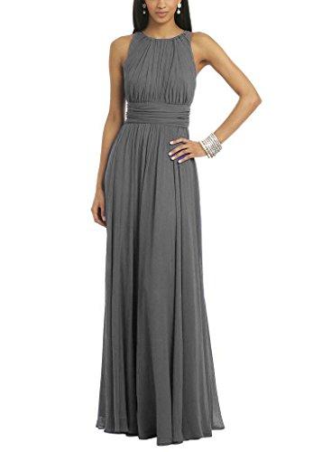 Ladies Stylish Chiffon Long Formal Wedding Party Dress Bridesmaid Prom Gown Steel US28