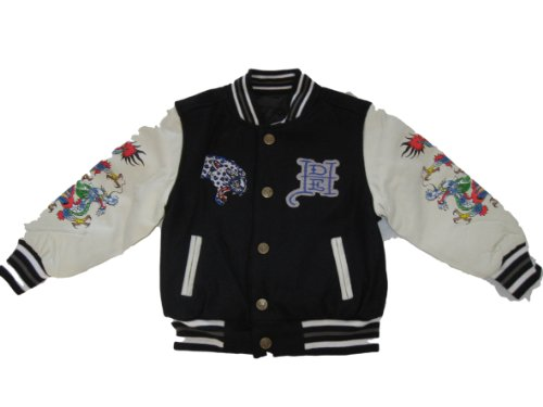 Ed Hardy Boys Vincent Panther Embroidered Reversible Varsity Jacket -
