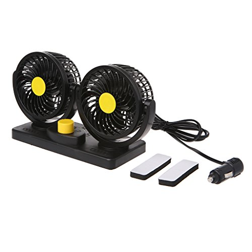 SQLang 360 Degree Rotating Double Headed Oscillating Fan, Mini Electric Car Air Cooling Fan 12V/24V by SQLang