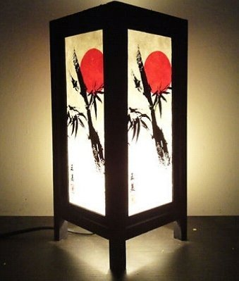 Thai Vintage Handmade ASIAN ORIENTAL Japanese Sunset Bedside Floor or Table Lamp Wood Lighting Shades by Thai Lanna Lump