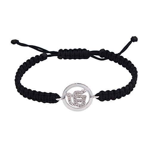 Price comparison product image Sikh Ik Onkaar Bracelet in 925 Sterling Silver Studded with Diamonds on Adjustable nylon thread