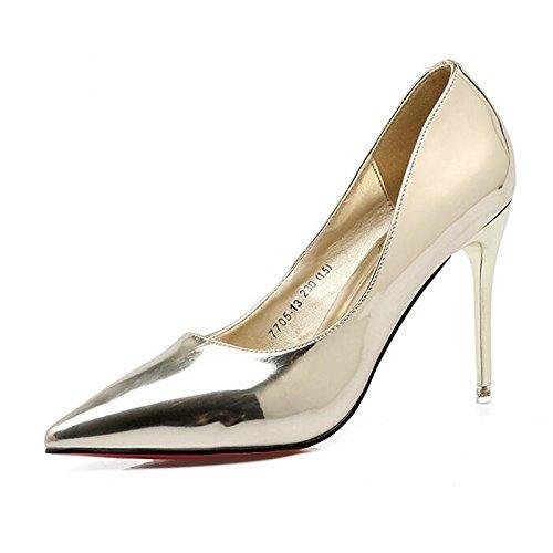 Heel donna Fuchsia nudo pu Nero Gold Stiletto cadono Comfort Scarpe per primavera tacchi rosso ZHZNVX Casual argento O8q5FwZ