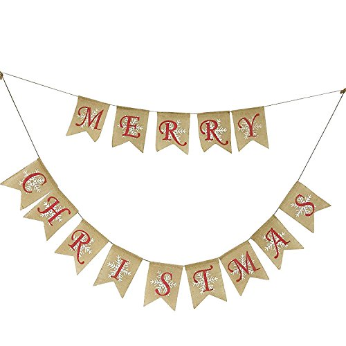 partyprops natural jute burlap merry christmas garlands banner for holiday decoration displaying and embellishing - Burlap Christmas Garland
