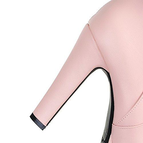 Balamasa Damer Metallkedja Plattform Chunky Klackar Spunnet Guld Bowknot Imiterade Läderstövlar Rosa