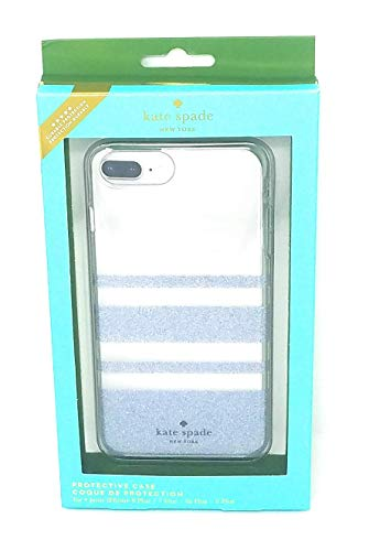 Kate Spade Protective Case for iPhone 8 Plus,7 Plus,6s/6 Plus, Rugby Stripe Silver Glitter