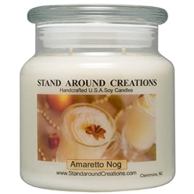 Premium 100% Soy Candle - 16 oz Double Wicked Apothecary Jar - Amaretto Nog: A holiday warmer of sweet almond and vanilla over 112 Hrs. Burn Time.