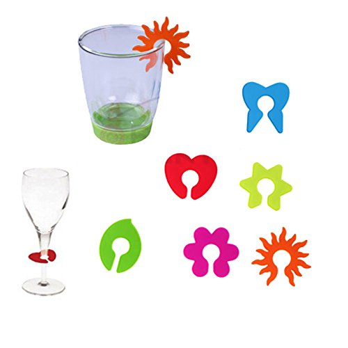 Elisona-12 PCS Silicone Wine Glass Markers Labels Random Color and Style