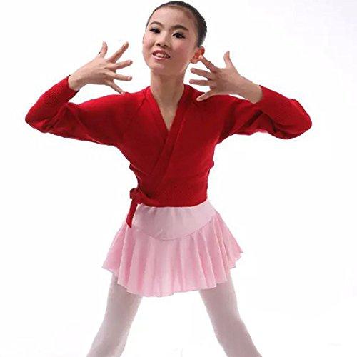 iiniim Kids Girl's Classic Long Sleeve Knit Wrap Sweater Ballet Dance Cardigan Red 3-4