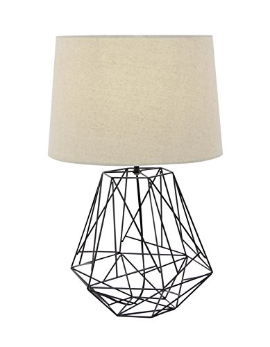 Deco 79 58660 Diamond-Shaped Table Lamp with Drum Shade, Black/White (Table Lamp Wire)