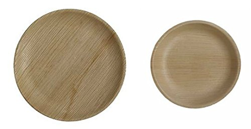Table To Go 50-Piece Palm Leaf Round Plate Set - Palm Leaf Shade