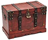 Brynnberg Pirate Treasure Chest Storage Box - Durable Wood & Metal Construction - Unique, Handmade Vintage Design With A Front Lock - Striking Decorative Element (15,5x9x10,5inch)