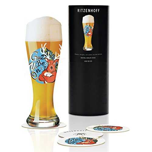 Ritzenhoff Weizen Wheat Beer Glass by Michal Shalev, Crystal Glass, 500 ml, with five Coasters