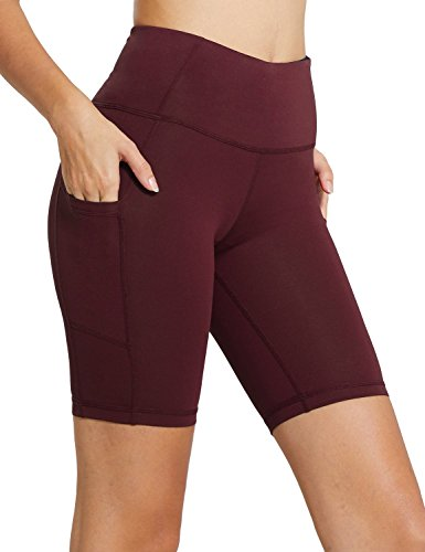 Baleaf Women's 8″ High Waist Tummy Control Workout Yoga Shorts Side Pockets Wine Red Size XL