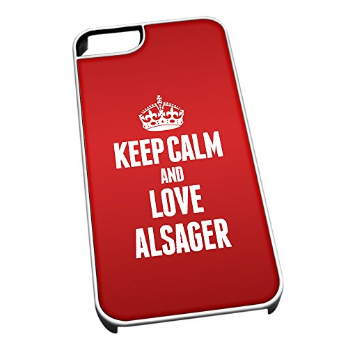 Bianco cover per iPhone 5/5S 0011Red Keep Calm and Love alsager-astuccio